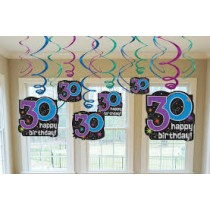 30th Bday swirls( set of 12)