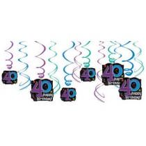 40th Bday swirls( set of 12)