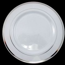 Plastic Plates with Silver Rim( Set of 5) 10''