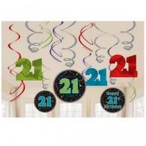 21st Birthday Swirls (set of 12)