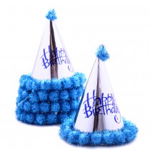 Kids Silver Conical Hat (Set of 5) - Blue