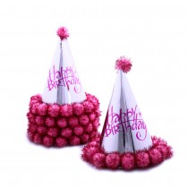 Kids Silver Conical Hat (Set of 5) - Pink