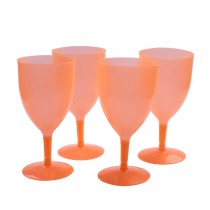 Orange Neon Plastic Glasses Set of 4