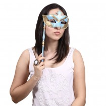 Blue Half Mask with Stick