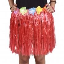 Red Straw Hula Skirt Small
