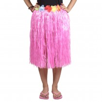Pink Straw Hula Skirt Medium