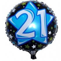 21st Birthday Blue and Black Foil Balloon