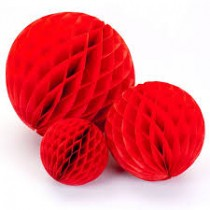 Red Honeycomb Party Decoration- (Set of 3) 10""