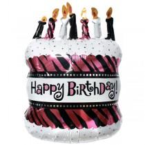Zebra Print Bday foil balloon 24''
