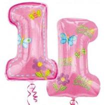 1 Pink supershape foil balloon 30''