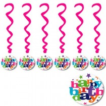 Happy Birthday Swirls With Paper Cards( set of 6)