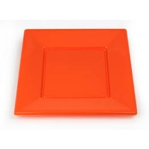 Orange Plastic Plates - Set of 12