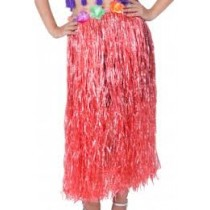Red Straw Hula Skirt Large
