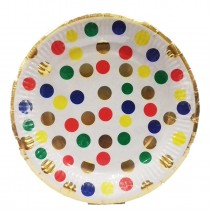 Colourful Polka Gold Foil Plates (Set of 10) 9''