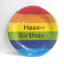 Rainbow Birthday Plates with Gold Foil (set of 10) 9''
