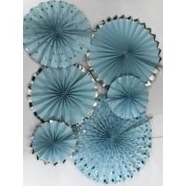 Paper Fan Set - Blue Glitter