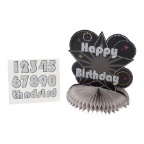Happy Birthday Honeycomb Centrepiece Black ( with age stickers )