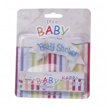 Baby Shower Flag Candle