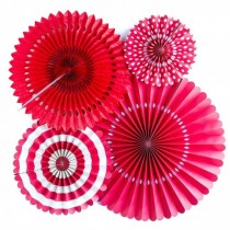 Paper Fan Set - Red ( set of 6)