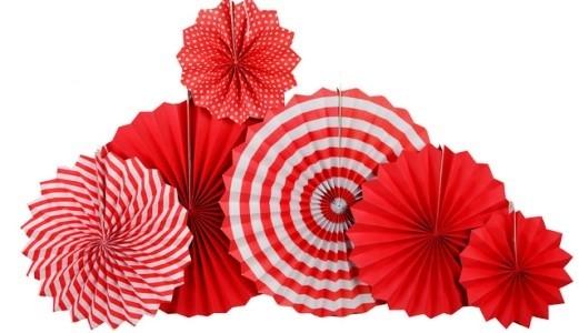 Paper Fan Set - Red
