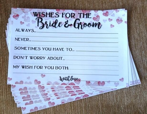 Bride & Groom Wishes Slips Set ( set of 10pcs)