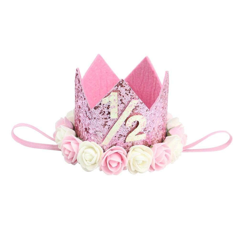 1/2 Half Birthday  Crown  ( Pink )