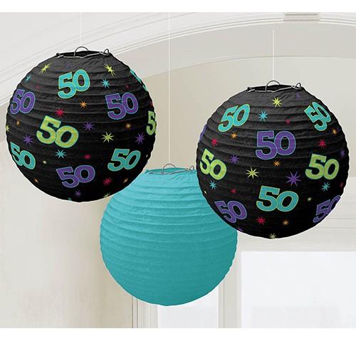 50th Paper Lanterns (set of 3)
