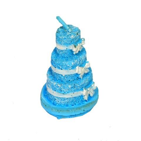 3 Tier Cake Shape Candle (Blue)