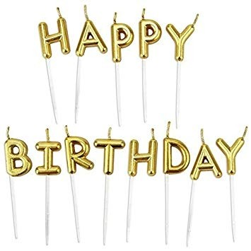 Candle - Happy Birthday Gold  Letters