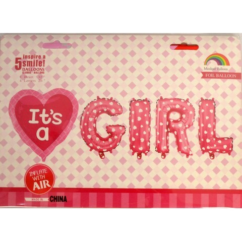 It's a Girl Letter Foil Balloon