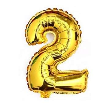 "Gold  Numeric 2 Foil Balloon  24"""