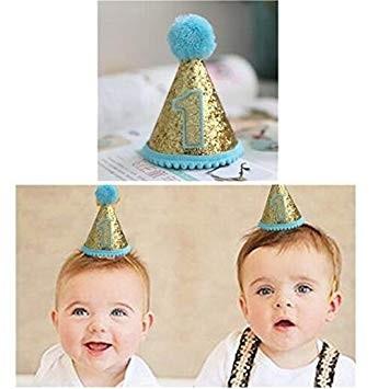 First Birthday Boy Mini Glitter Cap
