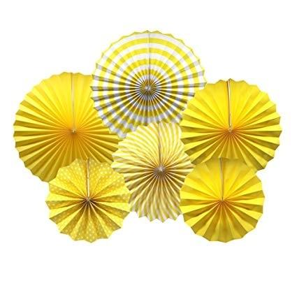 Paper Fan Set - Yellow