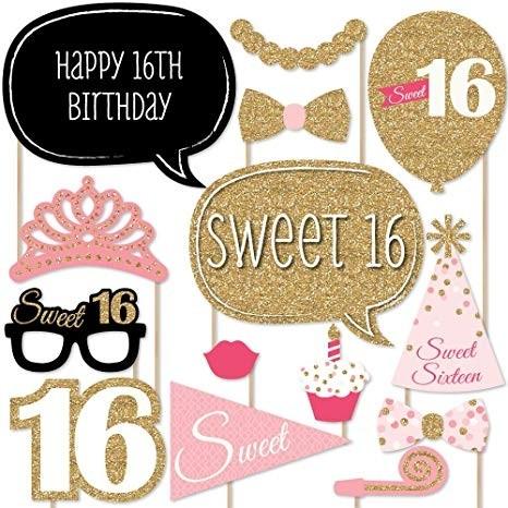 Photo Booth Sticks Set - 16th Birthday