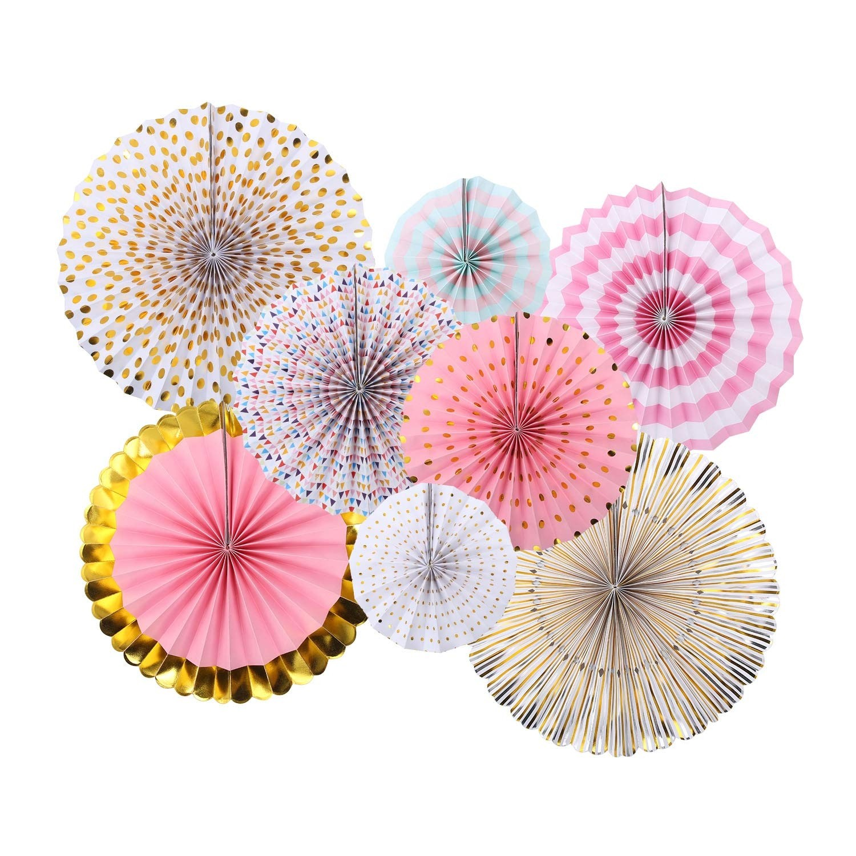 Paper Fan Pink Gold Set (Set of 8)