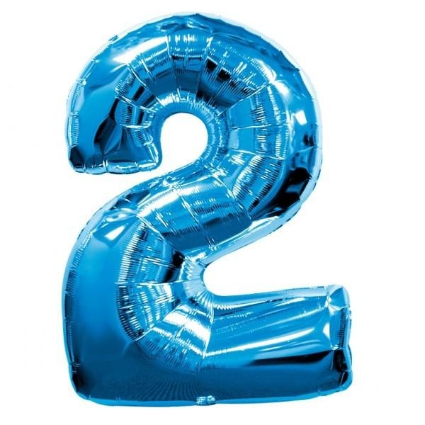 Blue Numeric 2 Foil Balloon 24""