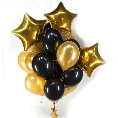 Foil Balloon - Mixed Shape Gold & Black Color Set