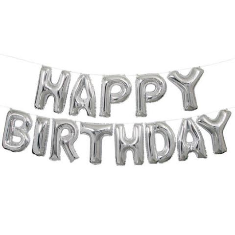 Happy birthday letter foil balloon(Silver)