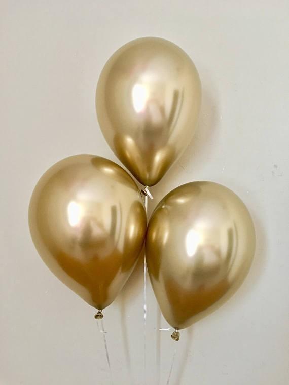 "Chrome Gold Qualtex 12"" Latex Balloons (Set of 3)"