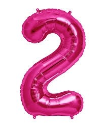 Pink  Numeric 2 Foil Balloon 24""