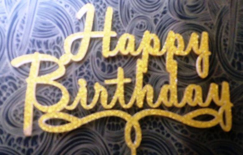 Happy Birthday Cake Topper (Gold)