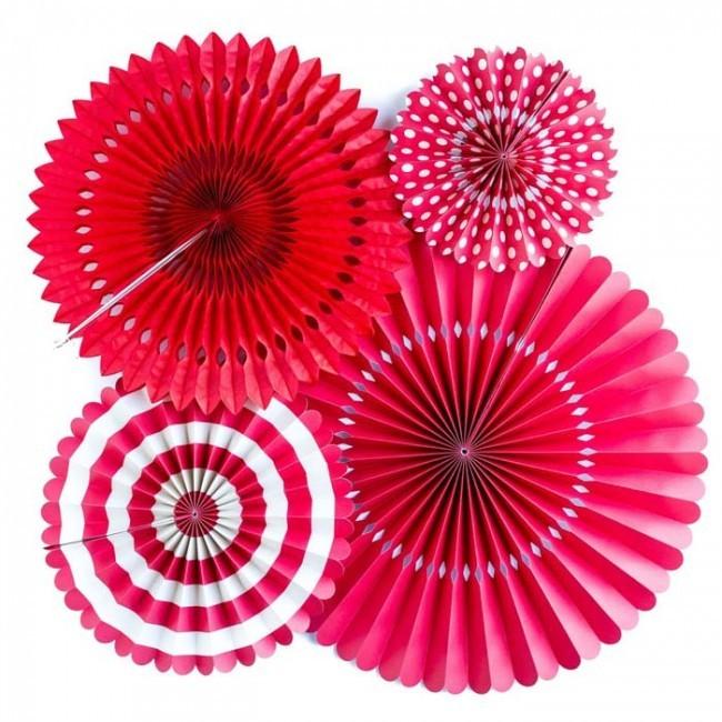 Paper Fan Set - Red ( set of 6)
