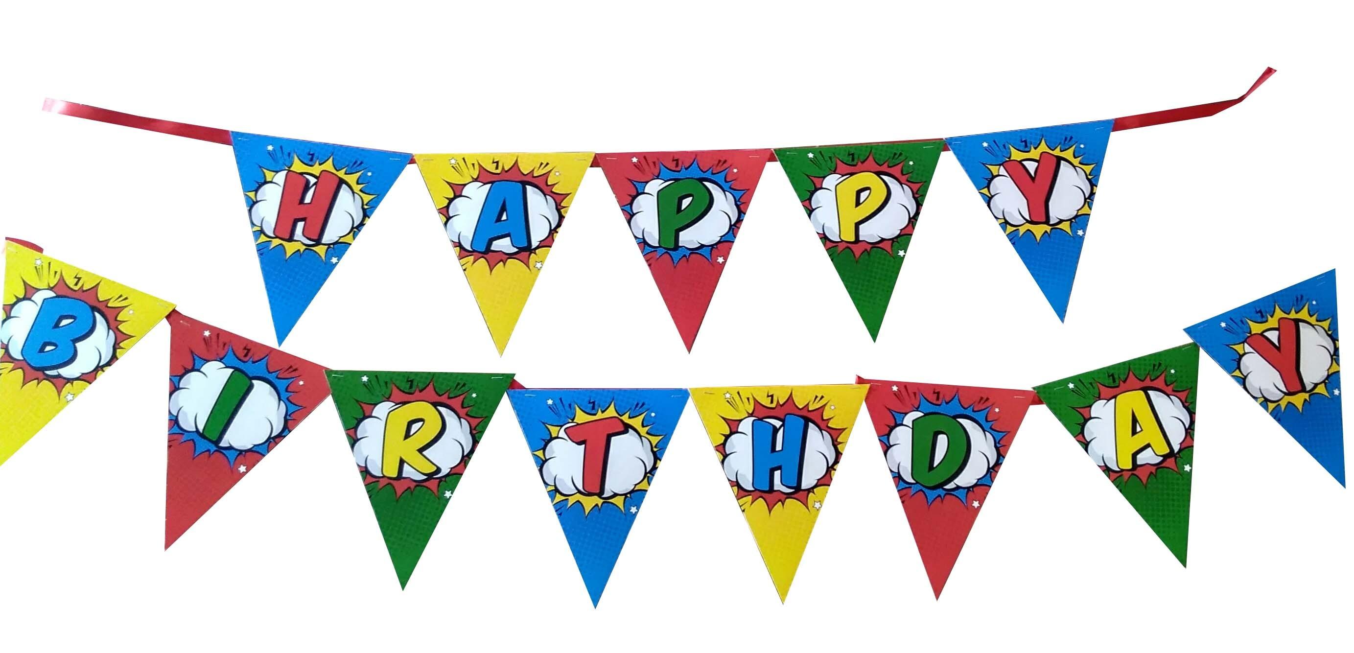 Super Heroes Happy Birthday Bunting