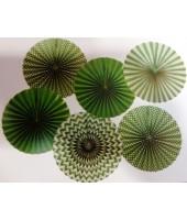 Green Paper Fan Set- (set of 6pcs )