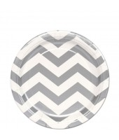 Silver Chevron Paper Plates (set of 10pc) 9''