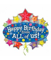 Happy Birthday Starburst Foil Balloon 30''