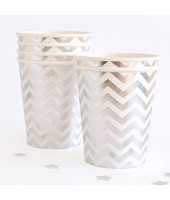 Silver Chevron Paper cups (set of 10pc)
