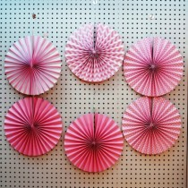 Pink Paper Fan set- ( set of 6pcs )
