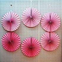 Pink Paper Fan set- ( set of 6pcs )