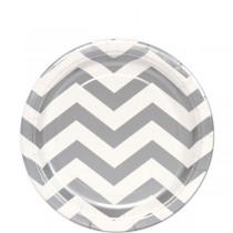 Silver Chevron Paper Plates (set of 10pc) 7''
